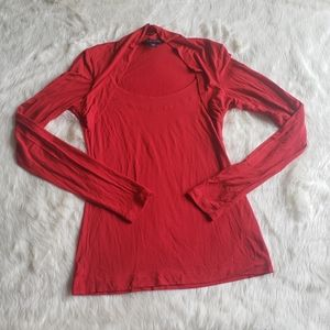 Banana Republic red long sleeve sweetheart top S
